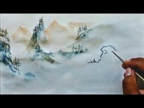 Chinese Traditional Painting Style, watercolor art trick, artwork tutorial