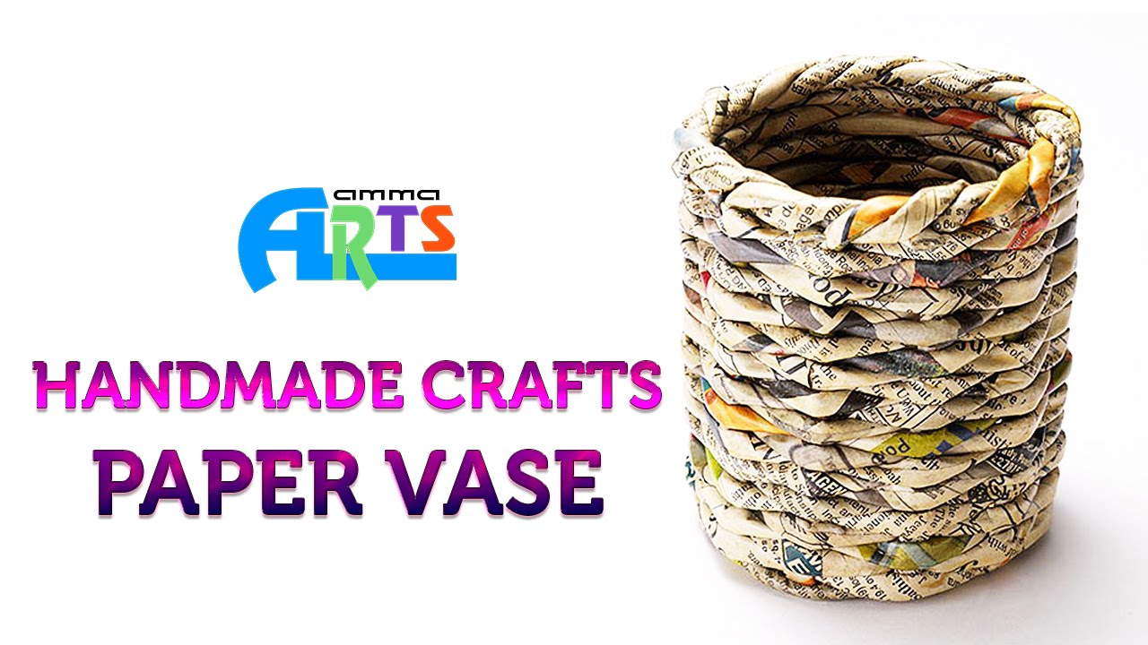 Paper flower vase in handmade crafts at amma arts youtube reviewsmspy