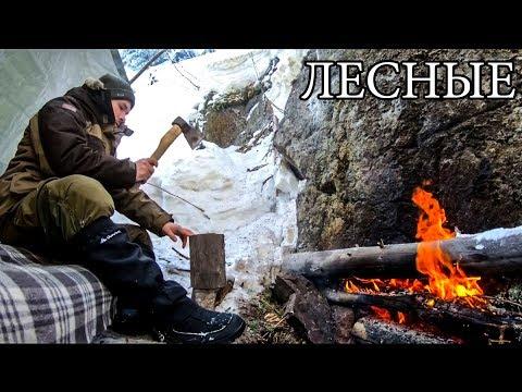 В ТАЙГЕ ЗИМОЙ С МИНИМАЛЬНЫМ СНАРЯЖЕНИЕМ | Горы Снег Бушкрафт - Winter Solo Overnight Bushcraft Camp