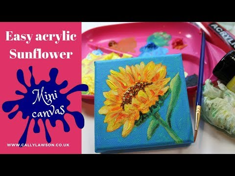Acrylic painting for beginners, Sunflower on mini canvas