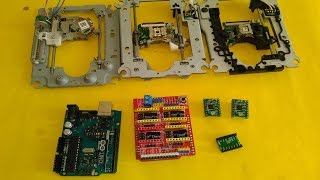 vuclip Basic setup ArduinoUNO + CNC SHIELD + GRBL + 3 X DVD Drive steppers