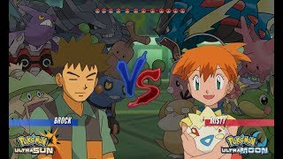 Pokemon Battle USUM: Brock Vs Misty (Ash's Companion, Pokémon Wifi Battle)