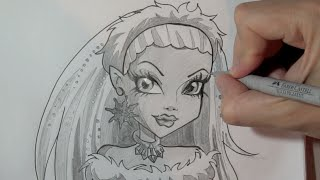 How to draw Abbey Bominable from Monster High step by step