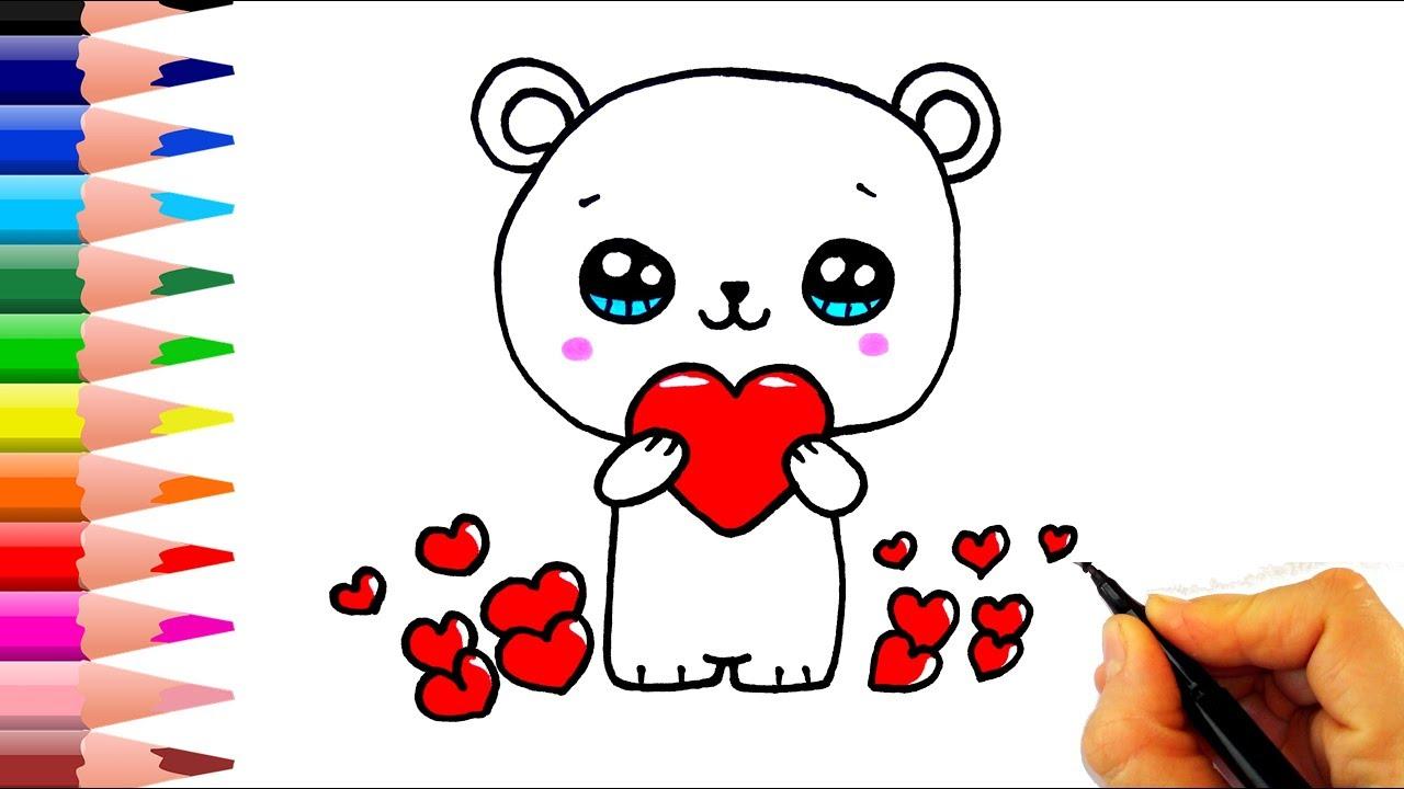 Kalpli Ayicik Nasil Cizilir How To Draw A Polar Bear With Heart