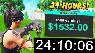 I worked as a Fortnite STREAMER for 24 HOURS and made this much.. (Fortnite Battle Royale)