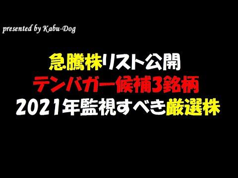 【急騰株リスト公開】テンバガー候補3銘柄も含め2021年監視すべき厳選株