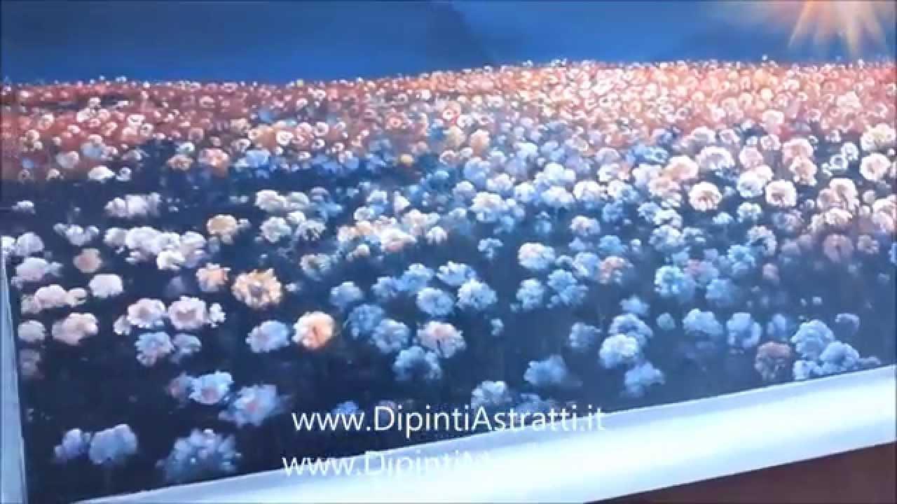 Quadro moderno con fiori dipinto a mano con cornice bianca for Dipinti ad olio fiori