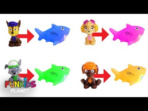 Learning Colors for Kids: Paw Patrol Chase & Skye Turn into Sharks & Fish Toys Let's Go Fishing