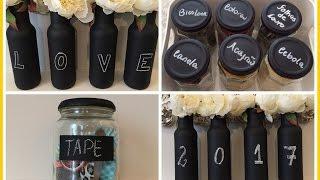 Reaproveitando vidros- com tinta para quadro negro-vasos- porta temperos- pote organizador