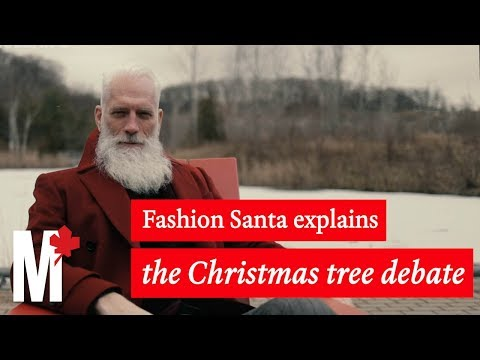 Fashion Santa explains the Great Christmas Tree Debate: Real vs. Fake
