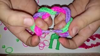 Плетем браслет КОСА на рогатке из резинок. Урок: Плетение из резинок.