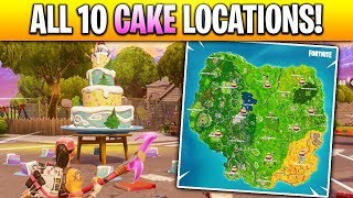 """""""Dance in Front of different Birthday Cakes"""" LOCATIONS in Fortnite! (ALL 10 BIRTHDAY CAKE LOCATIONS)"""