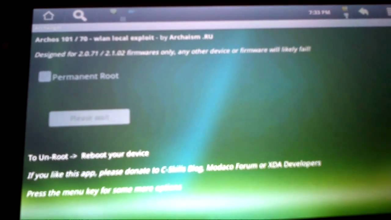 Root Archos 101 / Archos 70 newest firmware 2 1 08