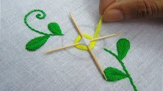 Hand Embroidery, Easy Flower Embroidery Trick with tooth pick thumbnail