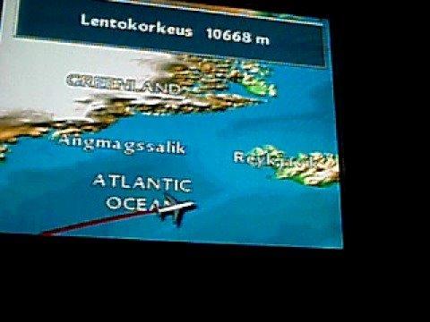 Finnair (MD-11) Inflight map. New York-Helsinki.