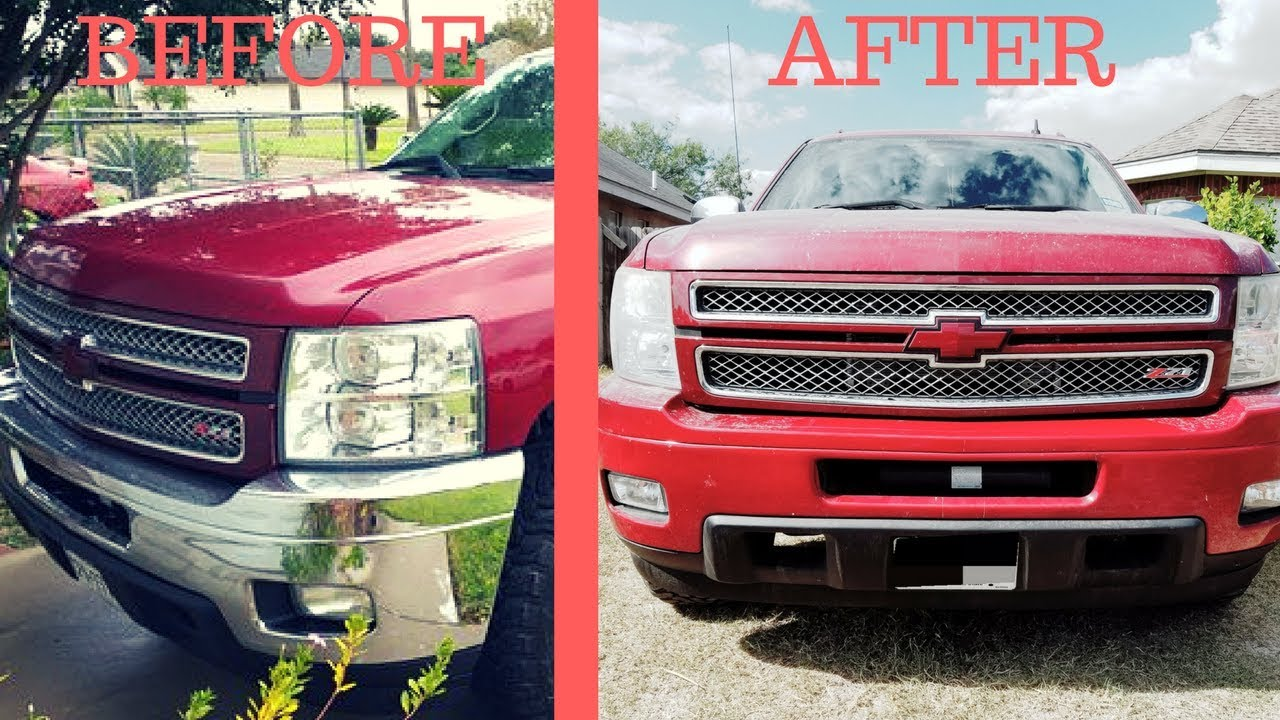 How To Paint Over Chrome Bumpers Youtube 2014 Dodge Ram Colors
