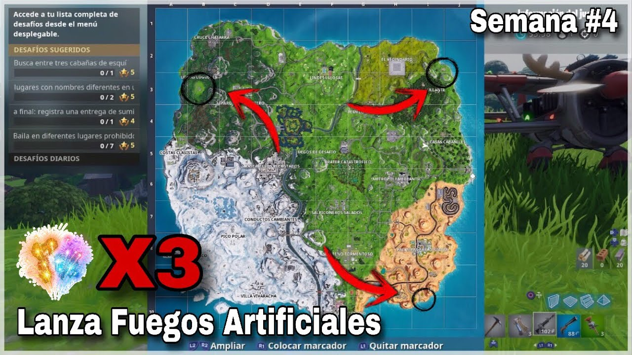 Lanza Fuegos Artificiales Desafio Semana 4 Fortnite Youtube