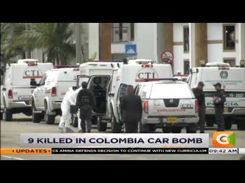9 killed in Colombia car bomb.
