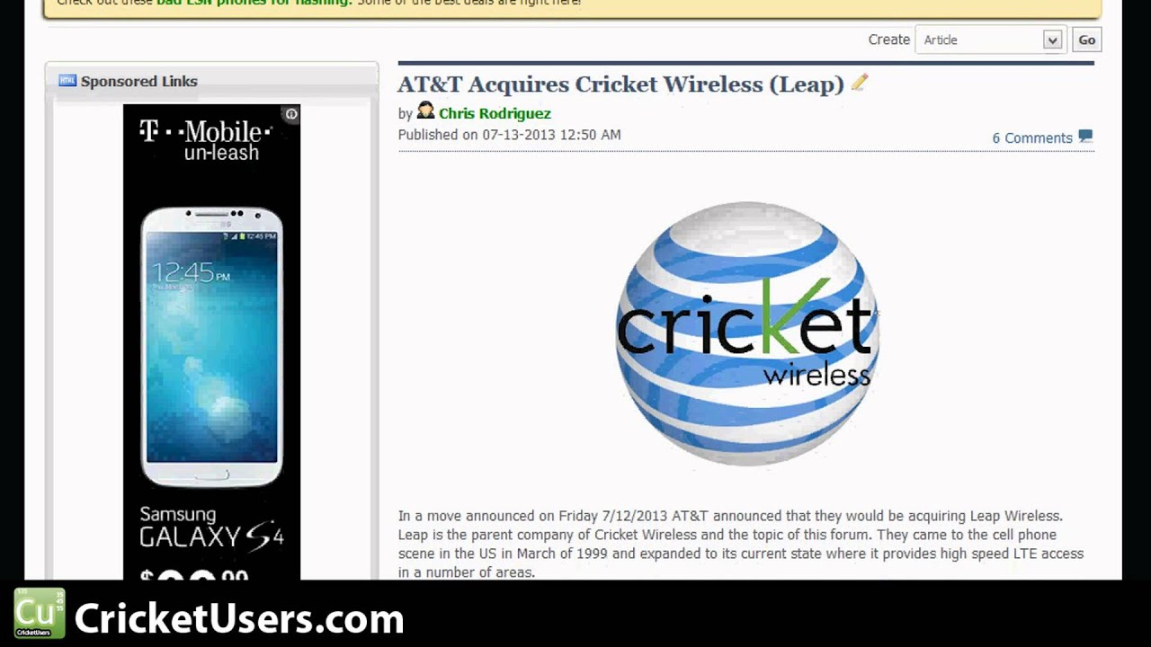 Cricketusers Com At T To Buy Cricket Wireless Via Buy Out Of Parent Company Leap Wireless