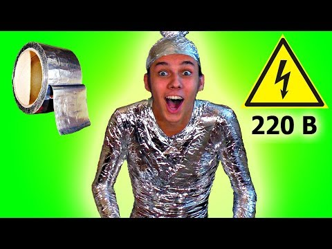 HOW TO BE BECOME INVULNERABLE TO ELECTRICITY completely wrapped in foil