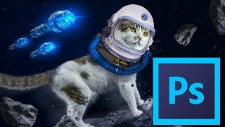 Poster Design - Cat On Space - Photoshop -Tutorial - 2018