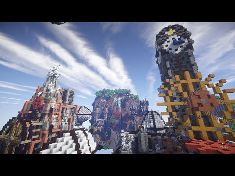 Minecraft Steampunk Floating City Timelapse Build Explore