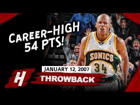 Ray Allen EPIC Full Career-HIGH Highlights vs Jazz (2007.01.12) - 54 Pts, 8 Threes!
