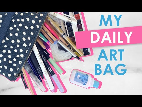 What's In My DAILY ART BAG? 2019 SKETCHING and WATERCOLOR Art Supplies TOUR thumbnail