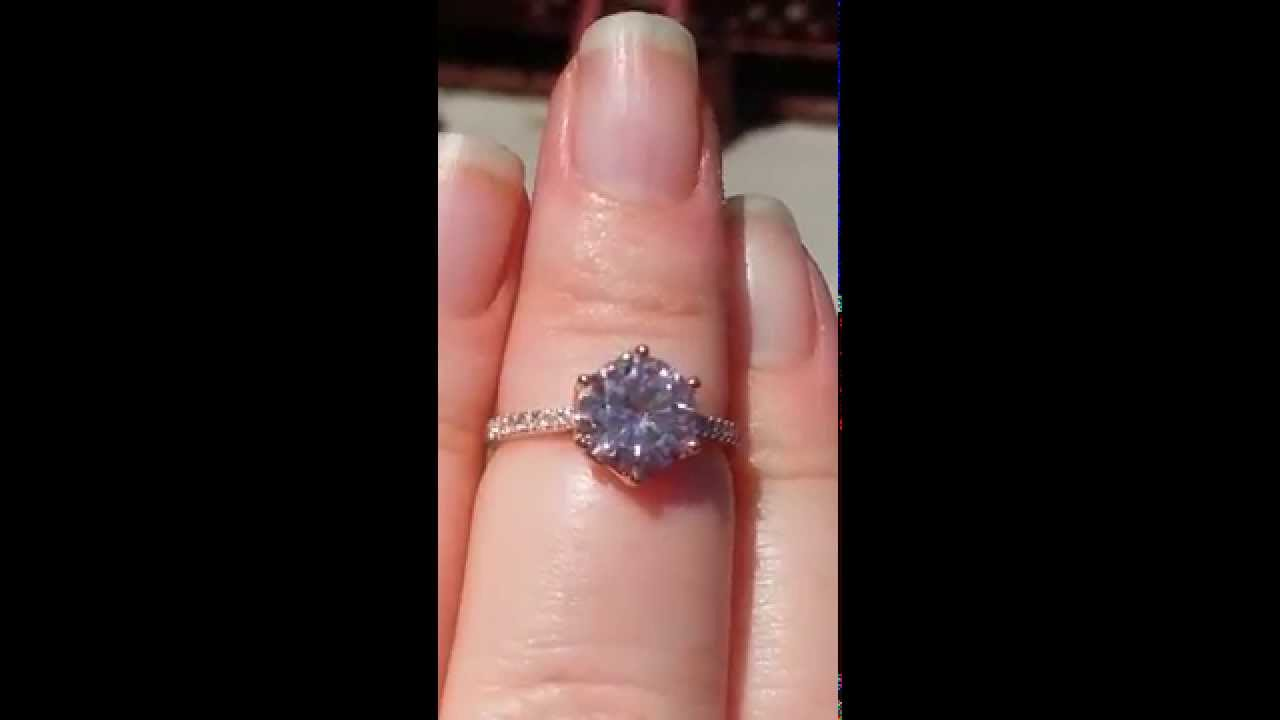 pink moissanite engagement ring peachy pink moissanite