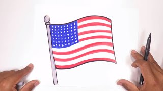 Learn how to draw the United States flag