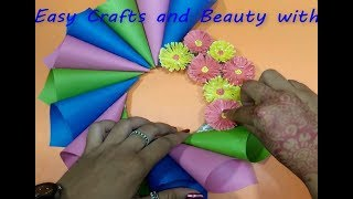 Diy paper flower wall hanging | Wall Decoration ideas, Easy paper flower wall hanging.