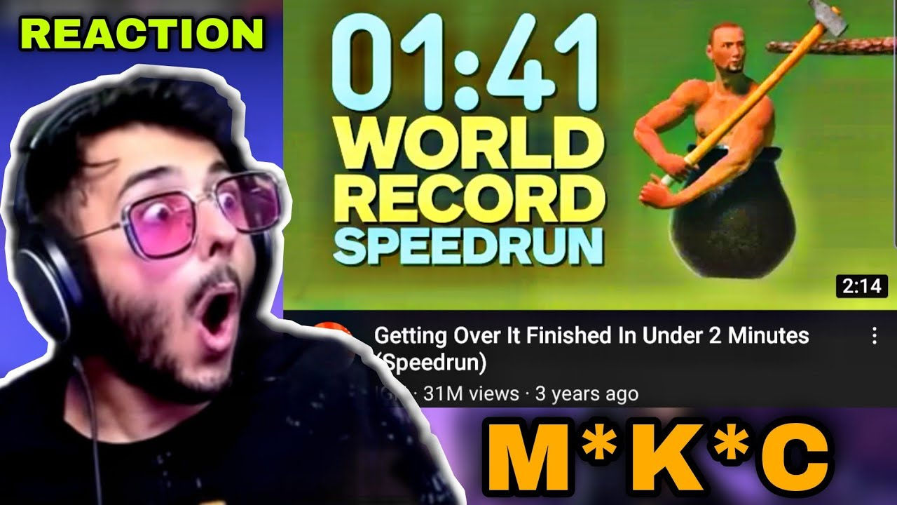 Carryminati's Reaction On 01:41 World Record Speed Run ?♂️ CarryisLive Getting Over It ⚡⚡⚡