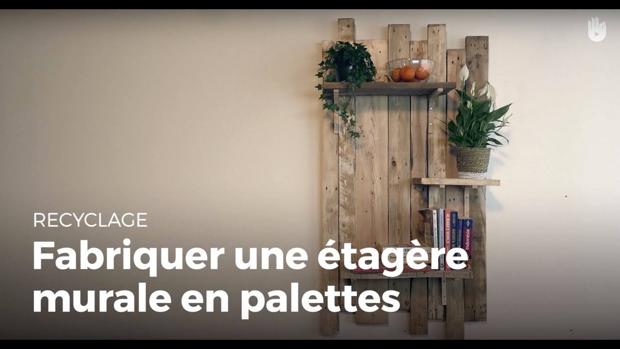 fabriquer une tag re murale design en palette recycler youtube. Black Bedroom Furniture Sets. Home Design Ideas