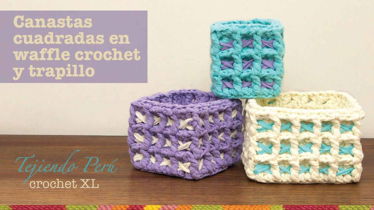 Canastas o cestas cuadradas en waffle crochet xl con - Cosas de trapillo faciles ...