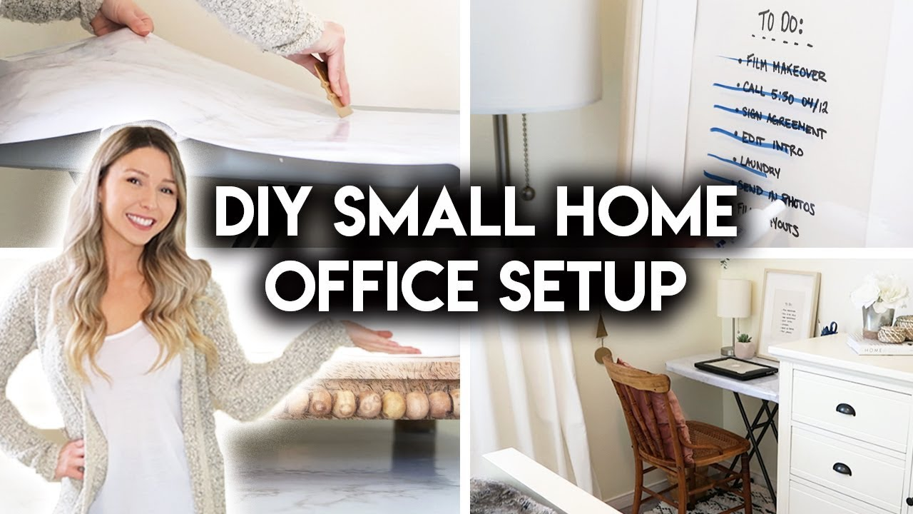 DIY SMALL HOME OFFICE  SIMPLE WORKSPACE IDEAS