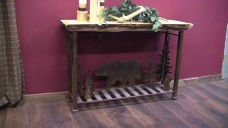 Wildlife Metal Scene Rustic Aspen Sofa Table At Logfurnitureplace.com