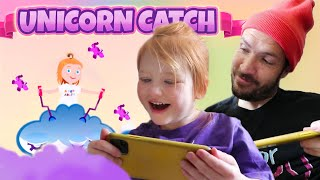 UNiCORN CATCH 🦄 Adley App Reviews her First Game! save unicorns, new coloring book, play drop test!