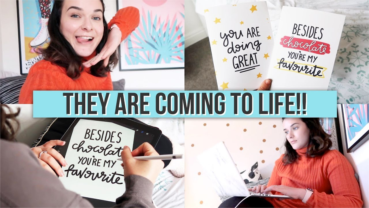 MAKING GREETING CARDS FOR ETSY   Studio Vlog