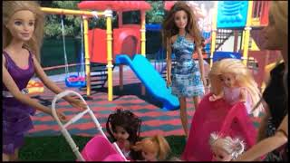 Barbie's baby bored, Barbie takes her baby to the children's park! Barbie doll