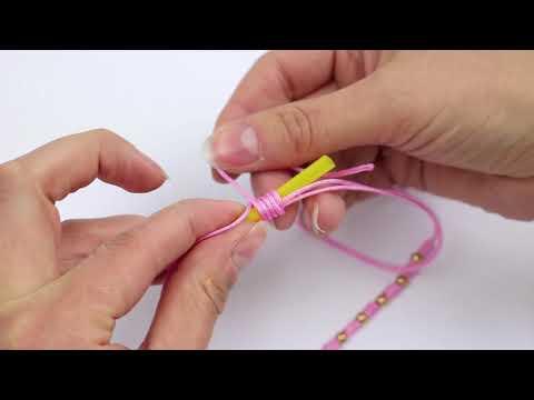 Handmade jewellery: Macramé bead cord weaving with a straw ♡ DIY