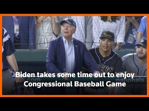 Biden, lawmakers at Congressional Baseball Game