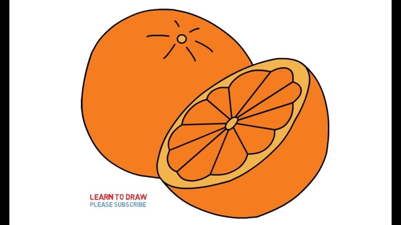 How To Draw Orange Fruit Step By Step Easy For Kids