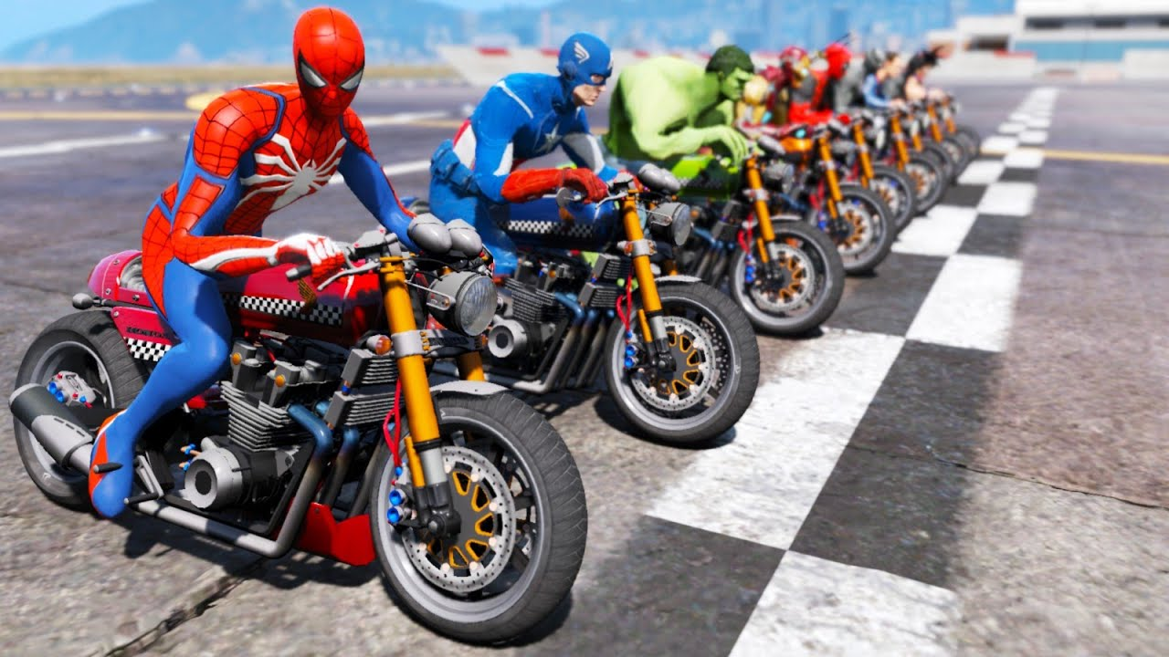 CLASSIC MOTORCYCLES with SPIDER-MAN and SUPER HEROES in the Challenge on the Ramp – GTA V MODS
