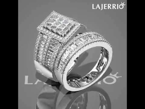 554011bd3cfdec 360° - Princess Cut White Sapphire 925 Sterling Silver Halo Bridal Sets. Lajerrio  Jewelry