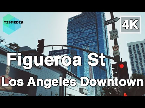 【4K】🇺🇸🌴Walking Around Figueroa Street In Los Angeles Downtown🎧, California, United States