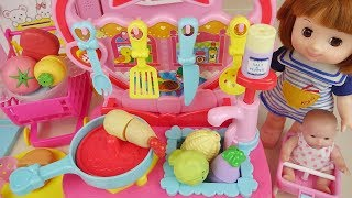 Baby doll kitchen fruit wash and cooking baby Doli play