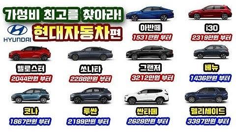 최고의 가성비 자동차를 찾는 비결을 알려드립니다! 마력당 가격 비교 현대자동차편