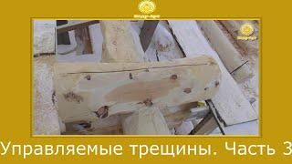 Как сделать  управляемые трещины в бревне №3! Примеры   #КедрАрт