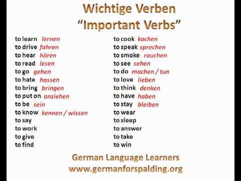 wichtige Verben - important verbs in German - www.germanforspalding.org