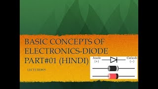BASIC CONCEPTS OF ELECTRONICS - DIODE  PART-1(HINDI)